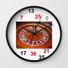 Wooden Roulette wheel casino gaming Wall Clock