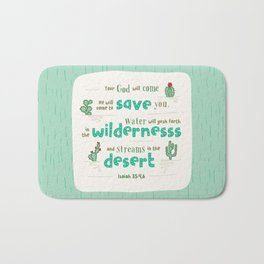 """Streams in the Desert"" Hand-Lettered Bible Verse Bath Mat"