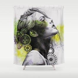 Burnt By The Sun (street art woman portrait with mandalas) Shower Curtain