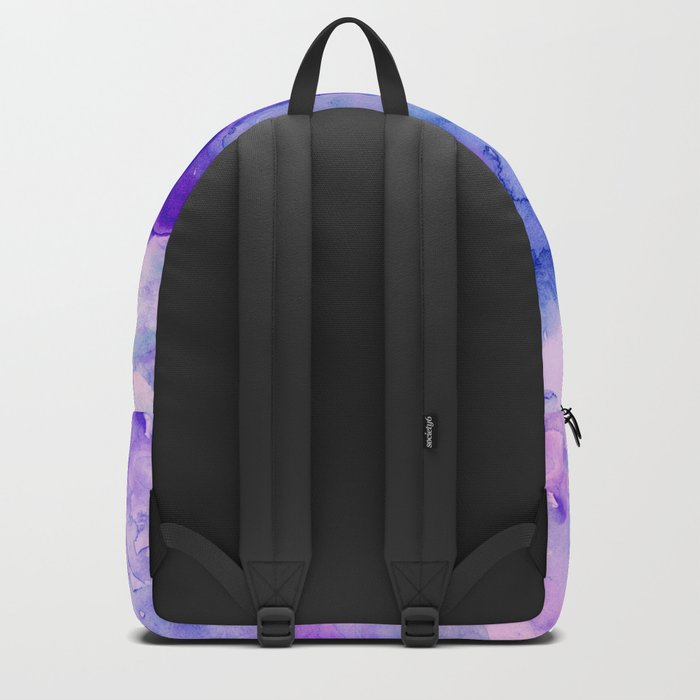 Peacock purple lavender hand painted bright abstract watercolor wash Backpack