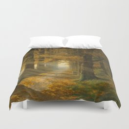 Early Morning Light, Autumn landscape painting by Max Ernst Pietschmann Duvet Cover