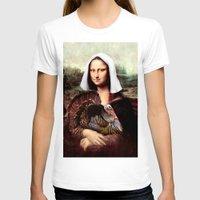 thanksgiving T-shirts featuring Mona Lisa Thanksgiving Pilgrim  by Gravityx9