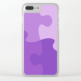Pastel Ultra Violet Puzzle Pattern Jigsaw Pieces Clear iPhone Case