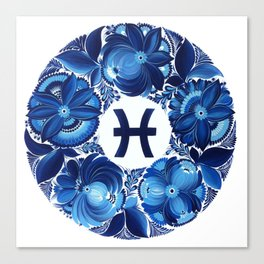 Pisces in Petrykivka style (without artist's signature/date) Canvas Print