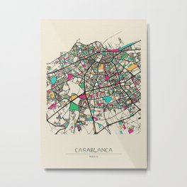 Colorful City Maps: Casablanca, Morocco Metal Print