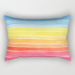 Rainbows and Clouds Watercolor Painting Rectangular Pillow