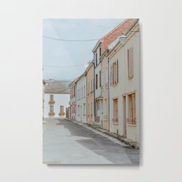 French street at Vertus   Pastel colored houses in France Metal Print