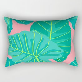 Giant Elephant Ear Leaves in Peachy Coral Rectangular Pillow