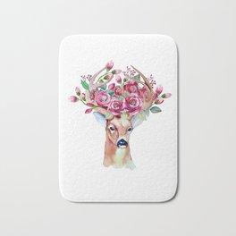 Shy watercolor floral deer Bath Mat