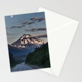 Country road to volcano at night in moonlight Stationery Cards