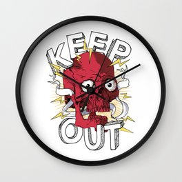 Keep Out Skull Video Gamer Wall Clock