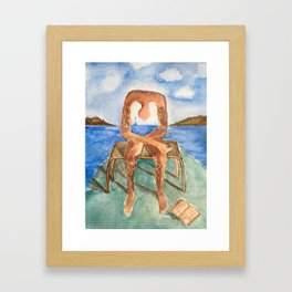 Fan art: melancholie sculpture with a dropped open book and sea view Framed Art Print