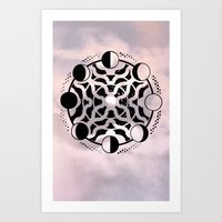 moon phase Art Prints featuring Moon Phase Mandala by Ancient Mountain Sacred Visuals