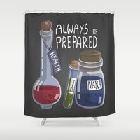 alchemy Shower Curtains featuring Alchemy Potions by sw4mp rat