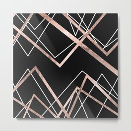 Rose Gold Black Linear Triangle Abstract Pattern Metal Print