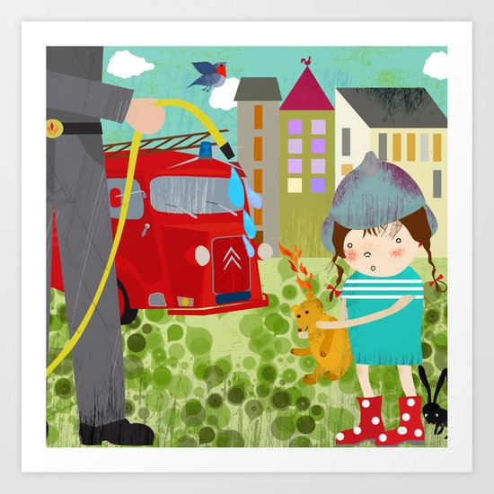 Emma and the Fireworkers Art Print