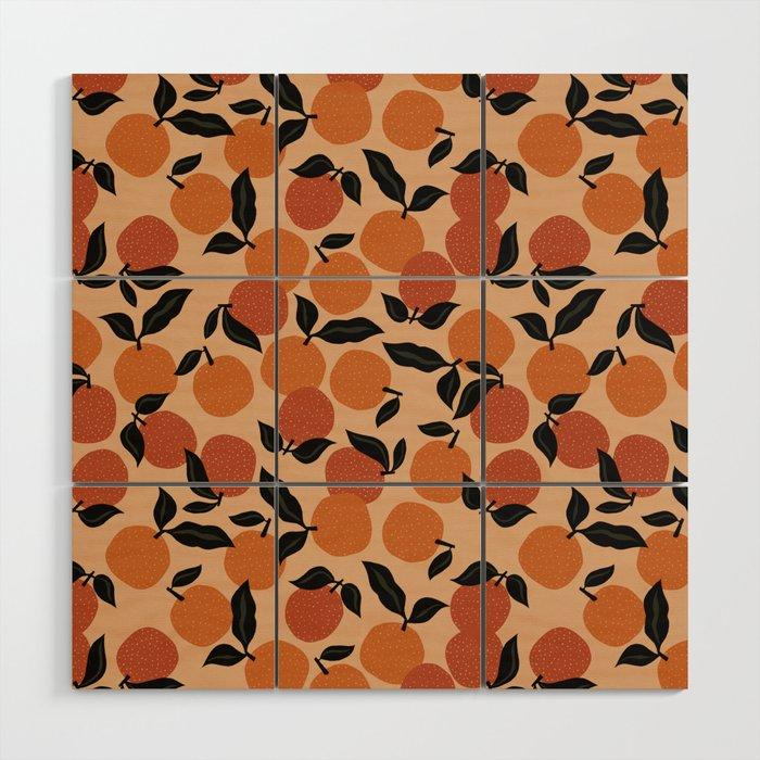 Seamless Citrus Pattern / Oranges Wood Wall Art