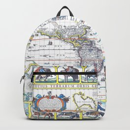 World map wall art 1652 dorm decor mappemonde Backpack