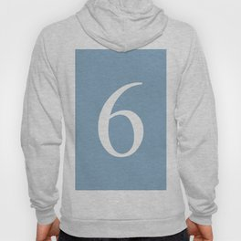 number six sign on placid blue color background Hoody