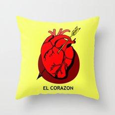 El Corazon Mexican Loteria Pop Art Throw Pillow