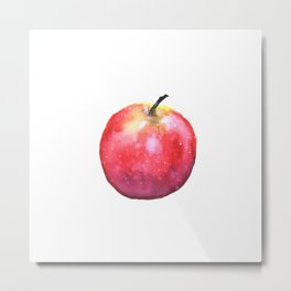 Watercolor Panting of a Red Apple Metal Print