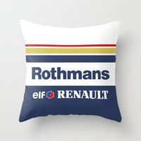 f1 Throw Pillows featuring Williams F1 Rothmans Ayrton Senna by Krakenspirit