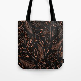 Holiday Pattern in black background and rose leaves Tote Bag