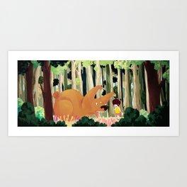 Meeting with Teddy Bear Art Print