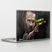 rick grimes Laptop & iPad Skins featuring Rick Grimes by Rob McElhaney