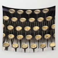 typewriter Wall Tapestries featuring Typewriter square by Tiffany Dawn Smith
