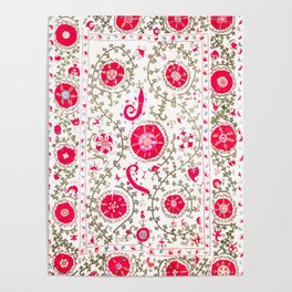 Whimsical Wildflower Red I // 19th Century Colorful Fuchsia Green Ornate Watercolor Pattern Poster