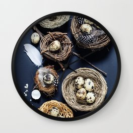 Easter background with eggs and nests Wall Clock