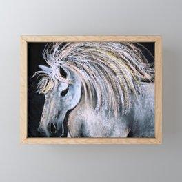 White horse Framed Mini Art Print