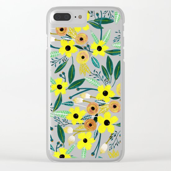 Pineapple Flowers Clear iPhone Case