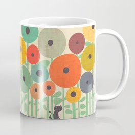 Cat in flower garden Coffee Mug
