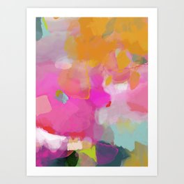pink sun clouds abstract Art Print