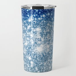 Galaxy Sparkle Stars Deep Blue Silver Ombre Travel Mug