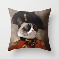 general Throw Pillows featuring Angry cat. Grumpy General Cat.  by UiNi
