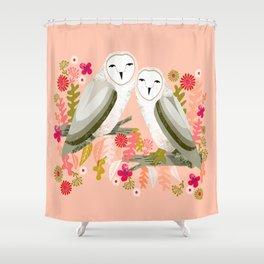 Owl Always Love You - Valentines Barn Owls, owl, owls, cute, animals, birds, andrea lauren Shower Curtain