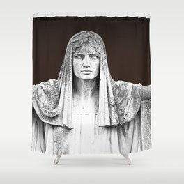 The destiny goddess  - Art deco statue of woman with peplum Shower Curtain