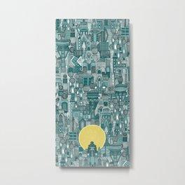 space city sun teal Metal Print