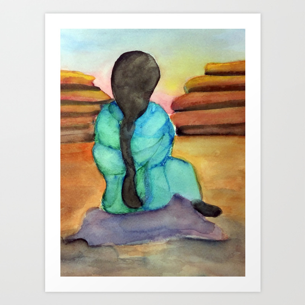 Woman Sitting On Rock Art Print by Desertsart PRN8442675