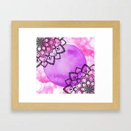 watercolor pink purple mandala Framed Art Print