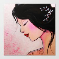 emily rickard Canvas Prints featuring Emily by eva lhyn