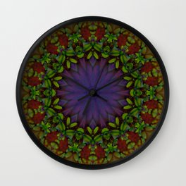Ultra Violet Flower Tile 76 Wall Clock