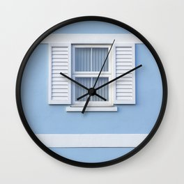 White on blue Wall Clock