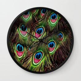 art nouveau bohemian turquoise purple teal green peacock feather Wall Clock
