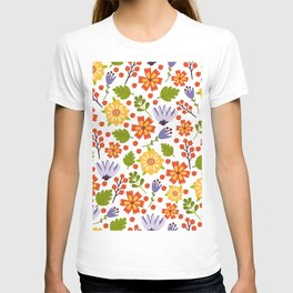 Sunshine yellow lavender orange abstract floral illustration T-shirt