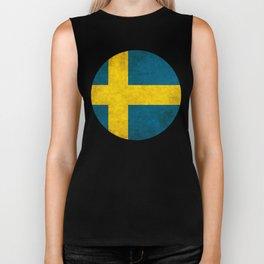Sweden flag, circle Biker Tank