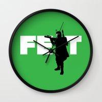 boba fett Wall Clocks featuring Boba Fett by Vector Vectoria